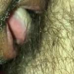 Eating the wife's hairy pussy