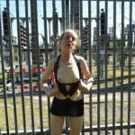 Flashing her small tits & showing off her short dress near a local power station