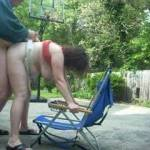 after pussy lick and cum, some bend over beach chair backyard quick fuck to keep it going.