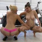 My 2 sexy bitches posing on my harley.
