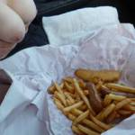 Fish up chips in the car on the way home from our weekend away .See anything you would like to eat ?