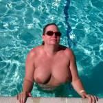 Wife enjoying the pool.