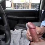 """Stroking in the Subway parking lot.  Almost got caught by the landscaping guy at 0:45.  """"I need someone to suck this Dick""""."""