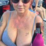 out drinking wife shows tit