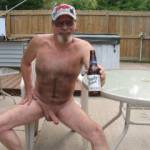 Totally Naked , enjoying a beer. Come join me/