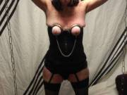Nipple clamps on.