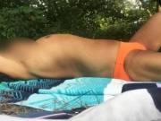 Bikini, speedo, thongs, underwear, sunbathing, outdoors, Central Park