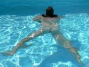me swimming nude in the pool