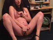 Naked & playing with her pussy showing off in front of me & a mate