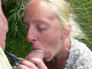joanne giving me a blowjob & handjob so I would cum on video outdoors