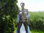 Hi all I think you all now know how much I love being naked outside in the sun comments welcome mature couple