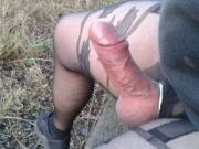 Horny in the Great Outdoors. Shame there's no one to take care of my obvious problem! ;-)