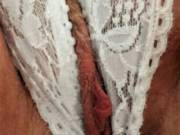Love to lick my wife's clitty through her crutch less panties.