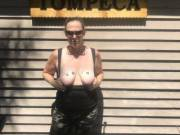 Slutwife Jen with her tits out on vacation