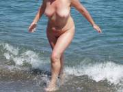 Nude in a Spanish nudist beach