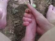 POV cumshot in the woods!