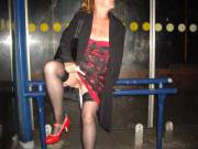 Heading home after a wedding, had to wait a few minutes at the bus stop so took the opportunity to show you that NO I don't wear panties regardless of the occasion ...lol. Who wants to have a little lick of my pussy as I stand here waiting for the bus?