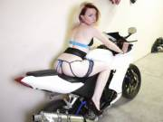 I let Hubby take some pics of me on his Motorcycle in my new Lingerie