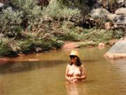 Skinny dipping on the Escalante River in western Colorado.