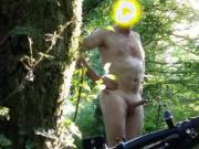 Out cycling naked showing my hard cock!