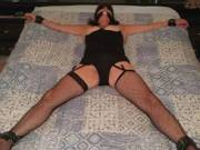 The wife getting stretched before a bondage session..