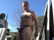 Enjoying 70's weather in undies