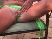 showing her pussy at the pool in florida