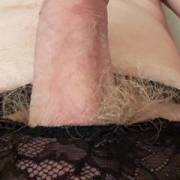 Hard dick poking out of sexy thong