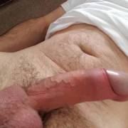 Playing with my juicy dick. Don't you wish!