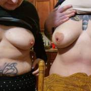 My wife and a friend showing there tits. Who do you prefer.?