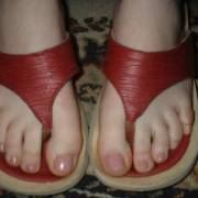 wife on leather thongs