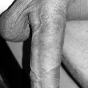 Big hanging dick in Black and white