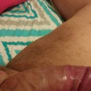 Big round thick dick! My wife got me so hard.. she was getting ready to bounce on her dick