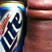 My MASSIVE thick dick dwarfing a beer can