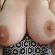 Morning happy snaps just finished milking them now I'm so horny I need your milky cum on my tits, tounge and cream pie me
