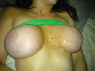 My babe love its when I cum on her tits, face and mouth. Where would you like to cum on her??