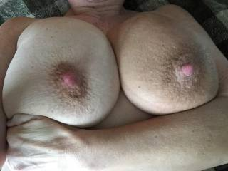 "Those BIG, suckable nipples ... look soooooo impressive!!!  (They ""coincide"" nicely with those BIG BOOBS you've got!)  8)  Sue XO"