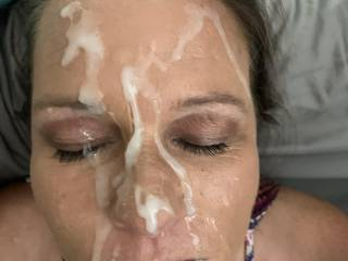 Even after sending my wife a video of me shooting a lot of cum 4 days earlier (video in masturbation section) I was still able to give her a decent facial when I got home. Sorry, no video of this one. #1