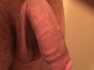 low hanging balls and thick cock with ridges
