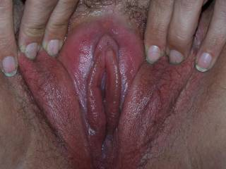 Pic #4, close-up of Wifey\'s puffy, pumped pussy and her delicious, meaty inner lips!