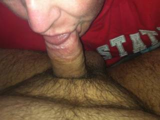Wife sucking my cock so good I gave her a Hugh load in her month