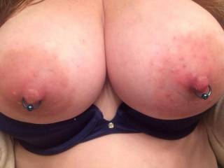 Love your pierced nipples I have always wanted to suck on some but have not had the chance yet ;(. Maybe soon