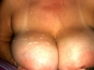 Lovely picture, looks like a nice cum all over your lovely breasts