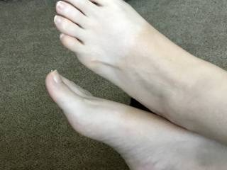 Some guests are over for an extended stay and she was feeling frisky. On a walk earlier in the day she told me she wanted me to suck her toes tonight. While we were all watching tv, she put her bare feet in my lap for a tease! She got more than sucking!
