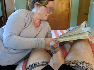 Tugging on my cock with her used panties while she reads
