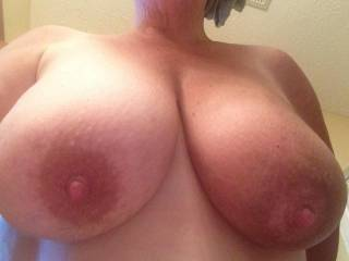 Nice tits. Would not mind sticking my dick between them