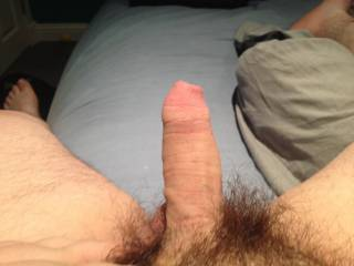 Will you let me grab it and jerk it slowly till it's fully erect. Would love to suck on your big swollen head then push it inside my wifes tight holes...