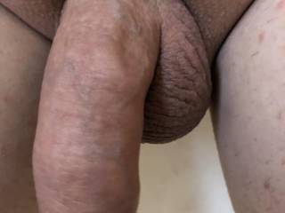 Shaved dick close up