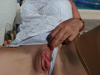 Getting some sun on my pussy before I masturbate...