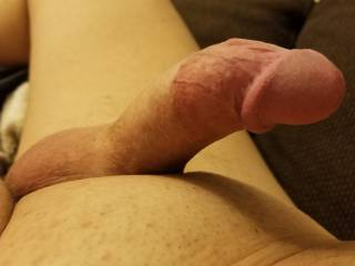 Sharing his curved cock that you see filling me up.